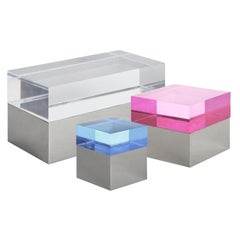Monaco Multicolored Lucite and Nickel Square Box Set
