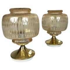 Mid-Century Modern Blown Glass and Brass Bedside Lamps, 1950s, Austria