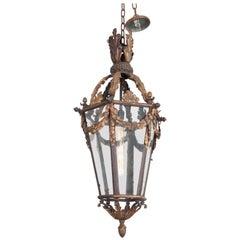 French 19th Century Iron and Gilt-Brass Single-Light Lantern