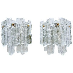 Pair of Austrian Ice Glass Wall Sconces by J.T. Kalmar, Austria, circa 1970