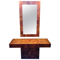 MCM Gold Leave Design Decoupage Painted Console Vanity with Matching Mirror
