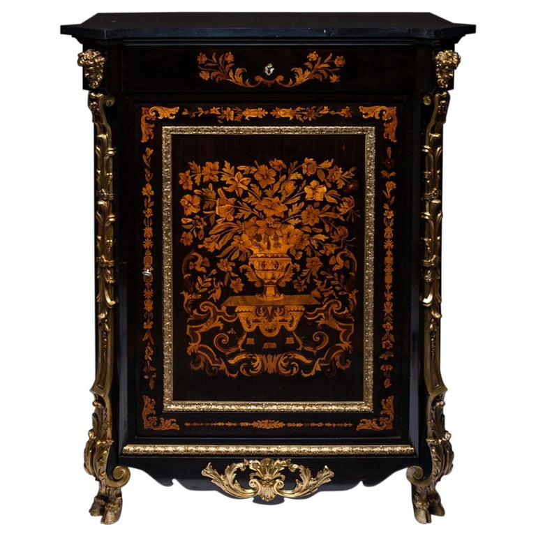 Marquetry Cabinet, Attributed to P. Sormani, France, 1870 For Sale