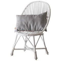 White Willow Chair, Classic White Wood Rattan Chair, Braided, Handmade