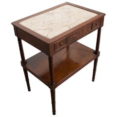 French 19th Century Directoire Mahogany Marble-Top Occasional Table