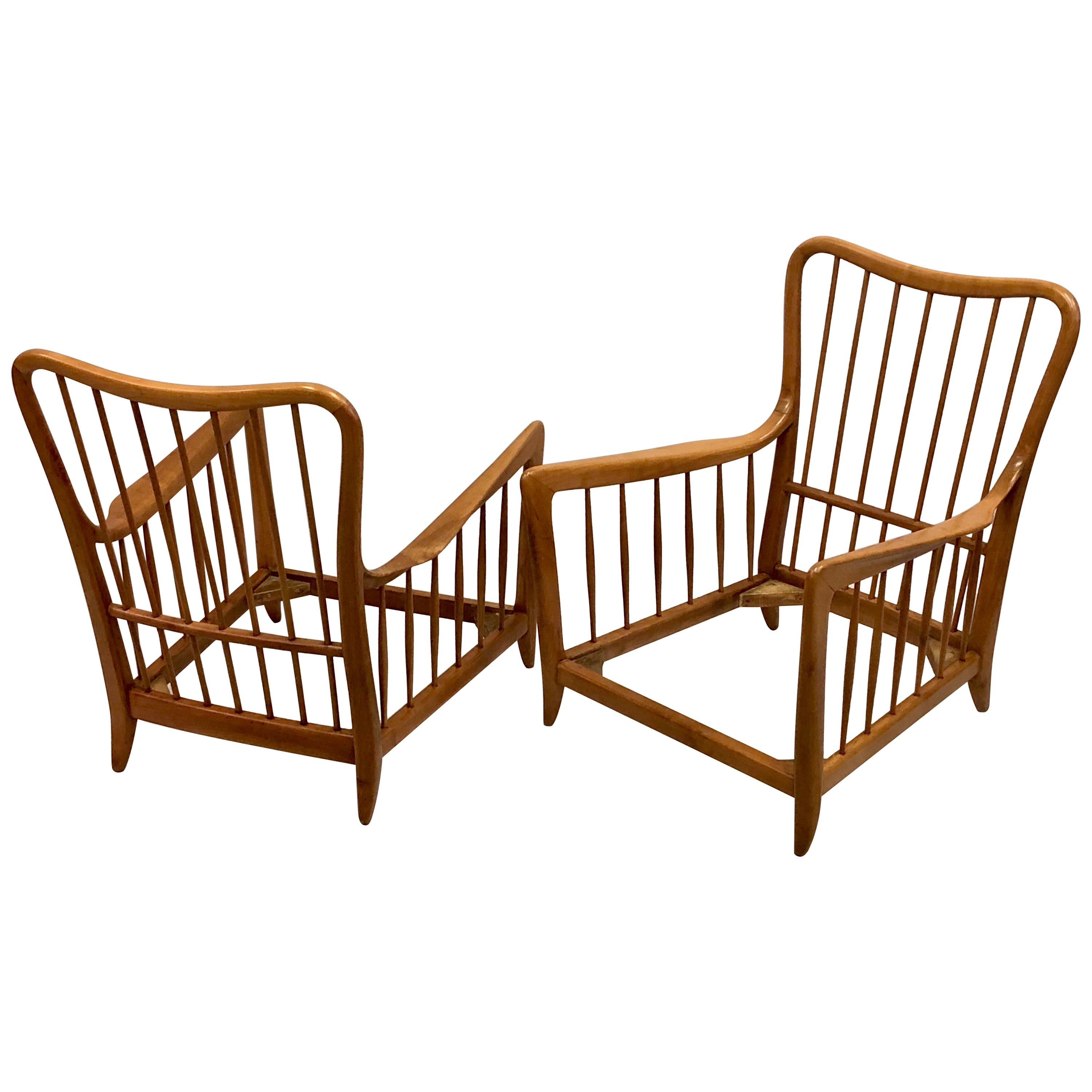 Pair of Italian Modern Neoclassical Cherrywood Armchairs by Paolo Buffa