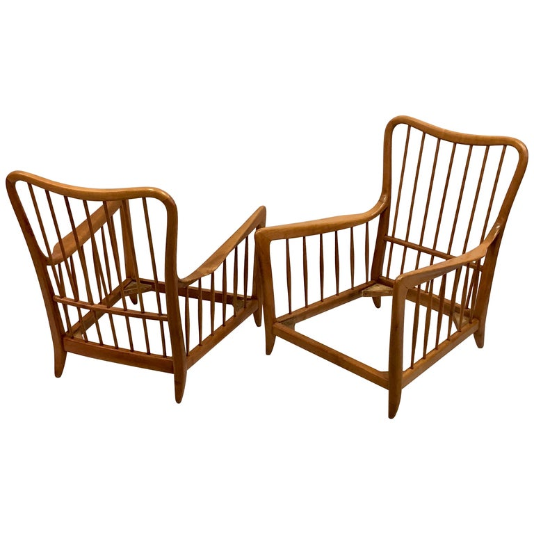 Pair of Italian Modern Neoclassical Cherrywood Armchairs by Paolo Buffa For Sale