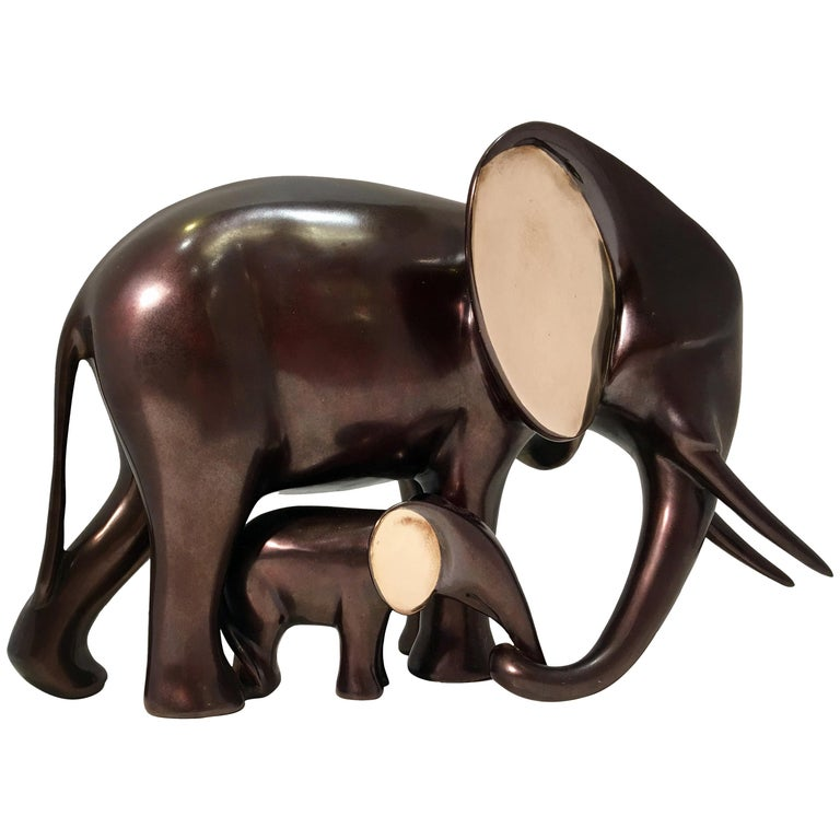 "Original Loet Vanderveen ""Elephant and Baby"" Bronze 2-Tone Wildlife Sculpture For Sale"