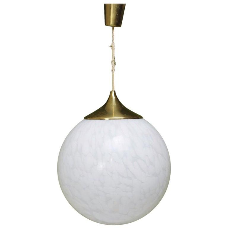 Globe Chandelier in White Mottled Murano Hand Blown Glass, Italy, 1970 For Sale