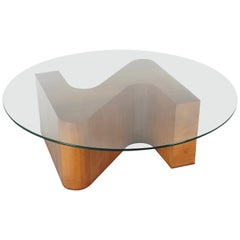 Mid-Century Modern Sculptural Walnut and Glass Round Coffee Table
