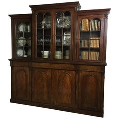 19th Century Victorian Flame Mahogany Breakfront Bookcase or Display Cabinet