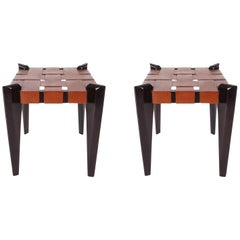Pair of Midcentury Danish Modern Woven Brown Leather Stools or Benches