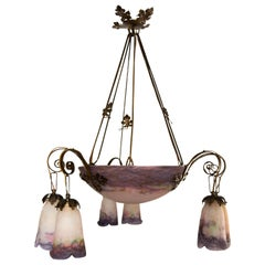 French Art Nouveau Purple Art Glass Chandelier by Muller Frères