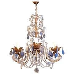Fine Beaded Blue Crystal Chandelier Antique Ceiling Lamp Lustre Art Nouveau