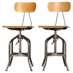 Pair of Vintage Toledo Bent Plywood Adjustable Stools