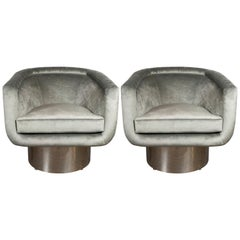 Pair of Midcentury Chrome and Platinum Velvet Club Chairs by Leon Rosen for Pace