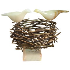 Curtis Jere Brass and Onyx Birds Nest Sculpture