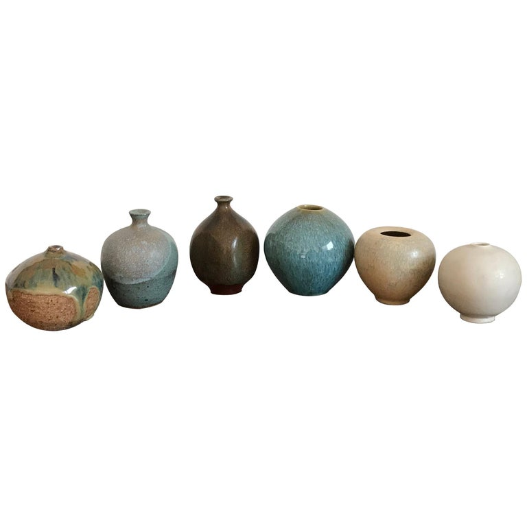 Six Studio Pottery Weed Vases by Some Listed Ceramicist For Sale