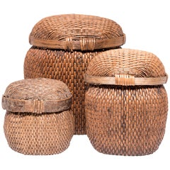 Set of Three Chinese Woven Baskets