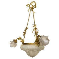 Louis XVI Style Gilt Bronze and Frosted Glass Chandelier
