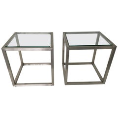 Guy Lefevre Stainless Cube Side Tables