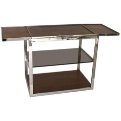 Knoll Custom Rosewood and Chrome Serving Cart