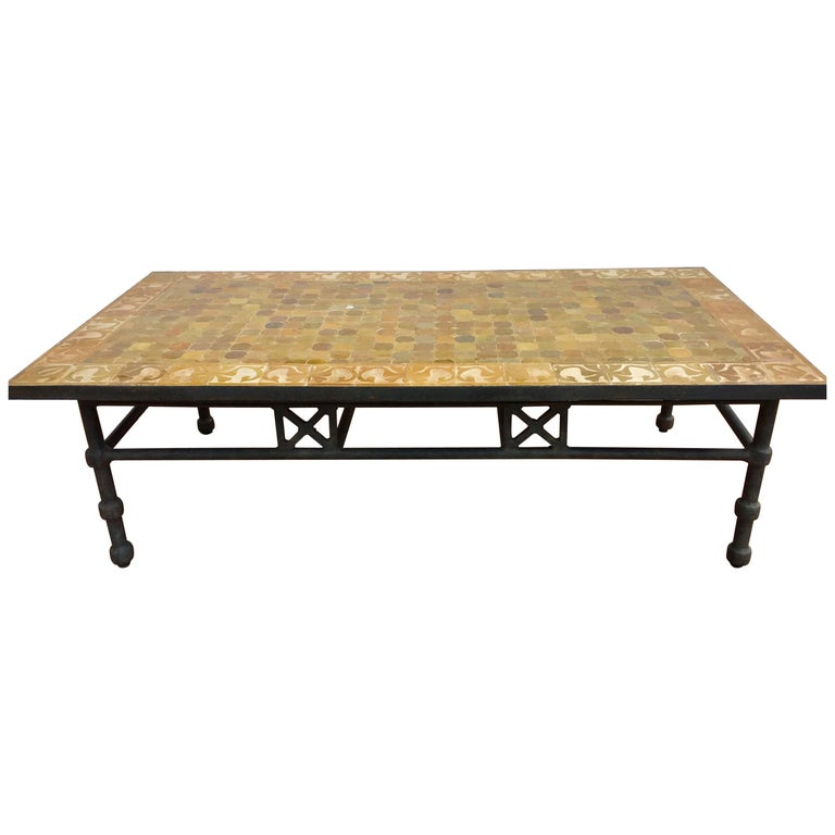 Moroccan Vintage Mosaic Brown Tile Rectangular Coffee Table For