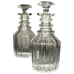 A Very Good Pair of Georgian Anglo-Irish Glass Spirit Decanters, Circa 1820