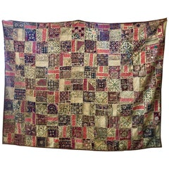 Large Indian Textile Hand Embroidered Patchwork Quilt Bedcover or Wall Tapestry