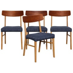 Set of 4 Teak and Beech 1950s Danish Modern Dining Chairs with Navy Seats