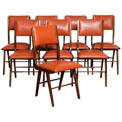 Set of 8 Brazilian Solid Rosewood Tall Back Dining Chairs in Leather
