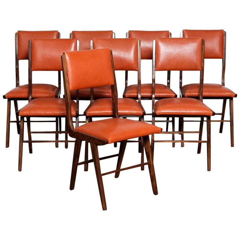 Set of 8 Brazilian Solid Rosewood Tall Back Dining Chairs in Leather For Sale
