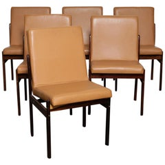 Set of 6 Brazilian Rosewood Bent Back Dining Chairs in Leather