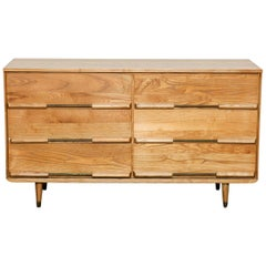 Solid Oak 6-Drawer Mid-Century Modern Low Dresser, 1960s