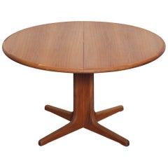 1960s Danish Teak Round Pedestal Dining Table