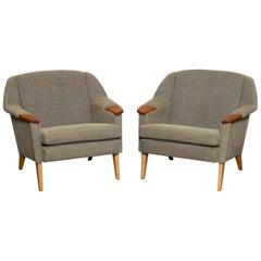 Pair of 1950s Danish Mid-Century Modern Fabric Lounge Chairs