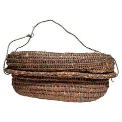 Vintage Rustic Basket Box from the Tharu of Nepal, Mid-20th Century