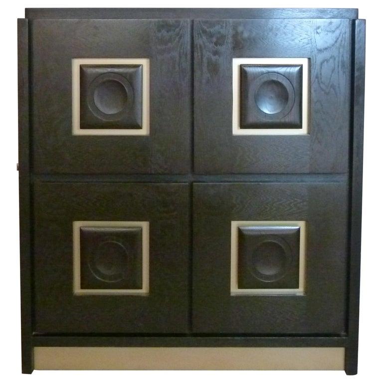 """1980s Blackened """"Brutalist"""" Oak Cabinet Forming Bar For Sale"""