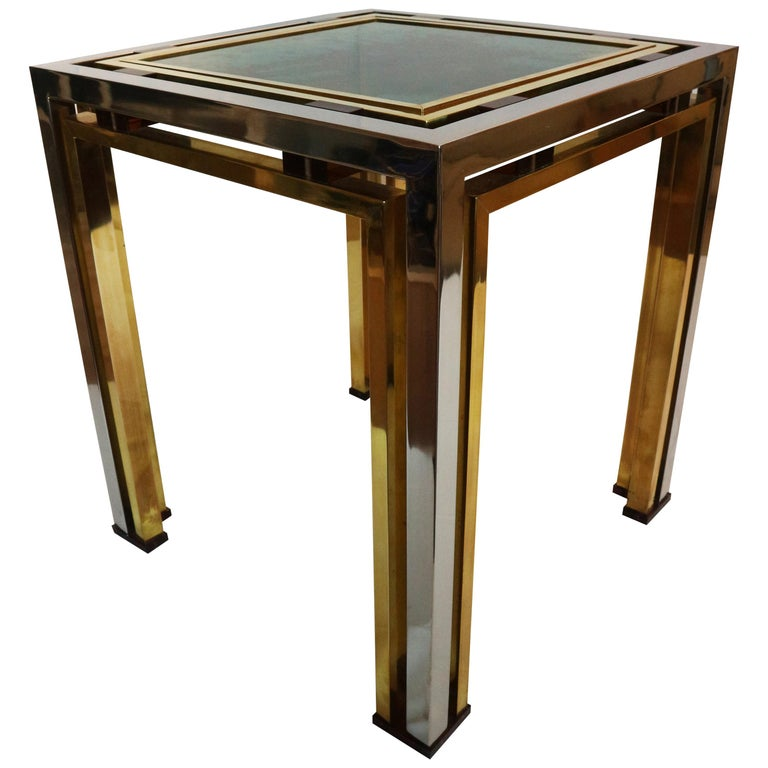 1970s Brass and Chrome Coffee Table by Romeo Rega, Italy 1