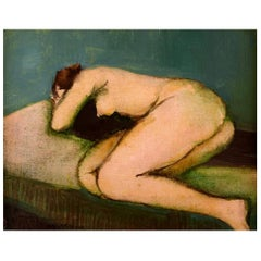 Adam Bekerman (1915-1988) Israeli/Polish Artist. Study of a Lying Nude Model