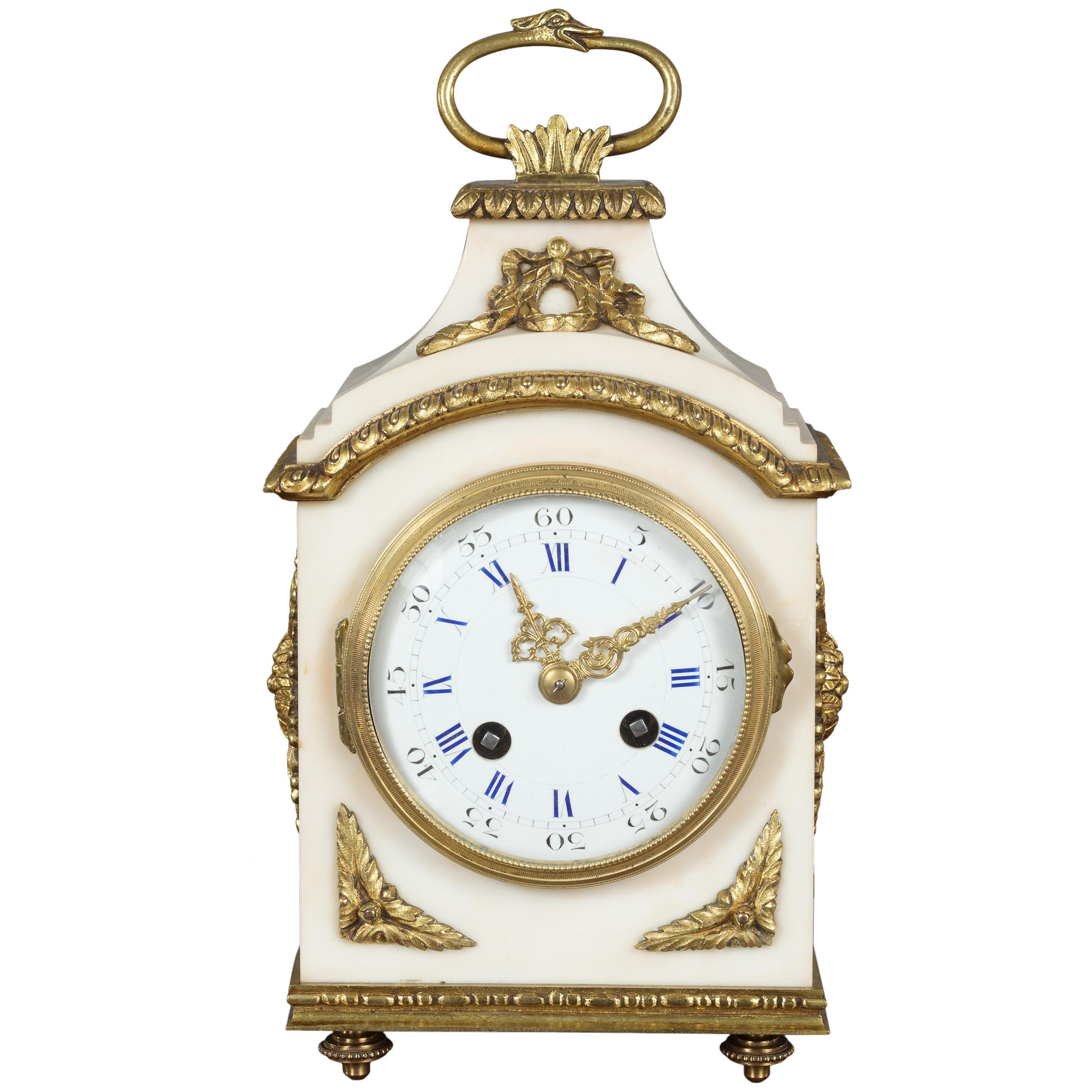 French White Marble Mantel Clock