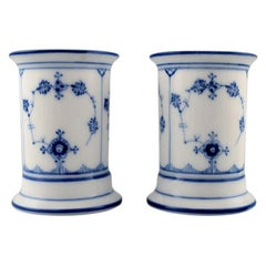 Pair of Royal Copenhagen Blue Fluted Vases