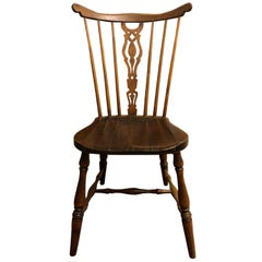 One Antique Rustic Comb Yew Windsor Wood English Bow-Back Chair
