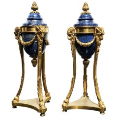 19th Century French Cassolettes Gold Bronze and Lapis Lazzuli Candleholders Pair