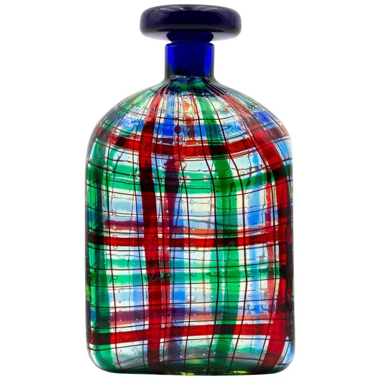 """Barovier for Christian Dior Paris """"Tartan"""" Murano Glass Bottle with Stopper For Sale"""