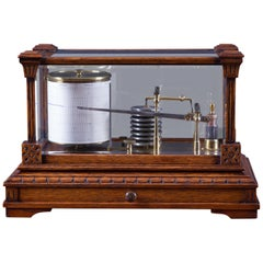 Late Victorian Carved Oak Barograph