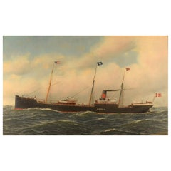 Antonio Jacobsen, The Steamer Hekla from Scandinavian American Line Oil/Canvas