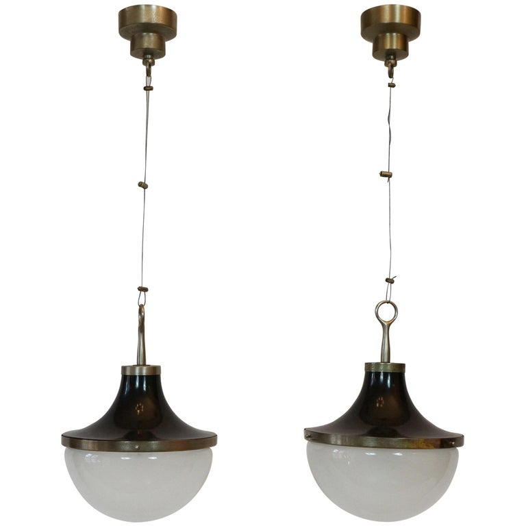 "Pair of Ceiling Pendants Design by Sergio Mazza for Artemide ""Picavo"" 1"