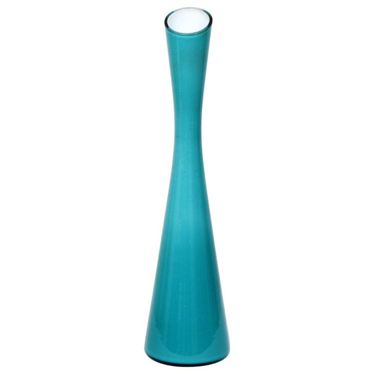 Swedish Turquoise Glass Vase by Gunnar Ander for Elme Glasbruk, 1960s For Sale