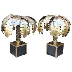Pair of French Designed Gilded Brass Palm Tree Standing Lamps