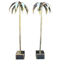 Pair of French Designed Gilded Brass Decorative Palm Trees with Base